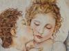 Amore e Psiche, bambini - Bouguereau - pastelli a olio su carta e foglie - 70x90