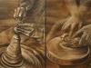I ceramisti di Faenza (pastello a cera su tavola) 40x60