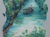 Imbarcazione in Terra Bagnata (olio su tela e sabbia) 30x70