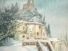 L'Orologio sotto la neve (acquerello)30x40