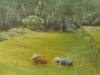 Le risaie (olio su tela e sabbia) 60x80