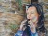 L' ocarina (olio su tela e carta) 50x60