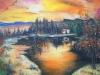 Tramonto sul lago (olio su carta telata) 30x40